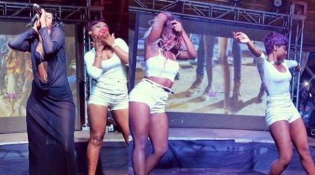 Sheebah in a see through during the Nkwatako video premiere