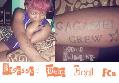 A Bebe Cool fan inks herself with a 'GC' tat