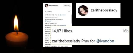 Zari's Instagram post calling for Ivan's prayers