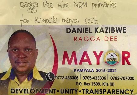 Ragga Dee wins the NRM primaries for Kampala Mayor