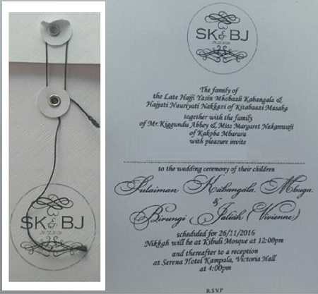 SK and BJ wedding card