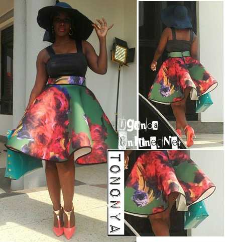 Desire in a flared skirt outfit