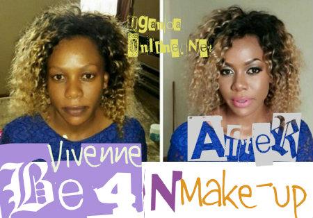 Vivenne Angela Birungi before and after make-up