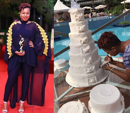 Zuena pick's up Bebe Cool's award and inset is a giant cake made by her