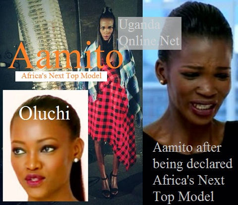 Uganda's Aamito is Africa' Next Top Model, inset is the host, Oluchi.