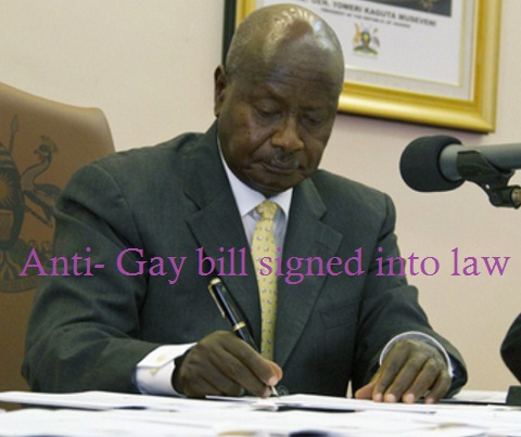 President Museveni during the signing of the anti-gay bill into law