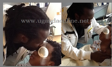 Bebe Cool kissing Alpha Thierry on his hospital bed in Boston, US