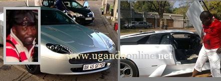 Inset is Cheune and his Aston Martin while Semwanga looks at his Lambo