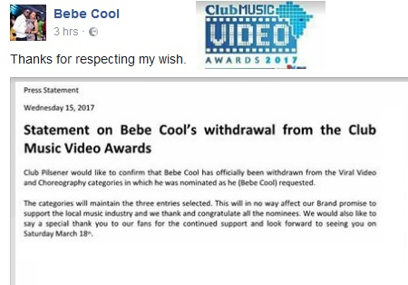 Statement by CMVAs to Bebe Cool