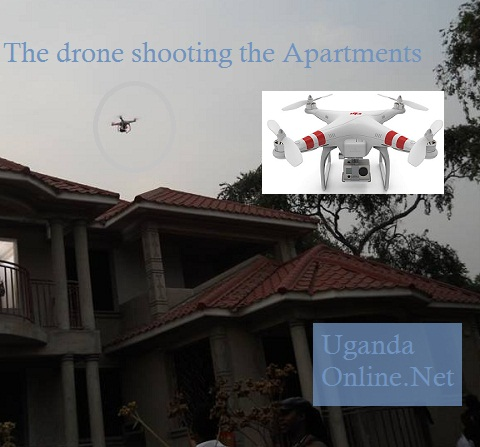 The flying drone capturing images of the apartments