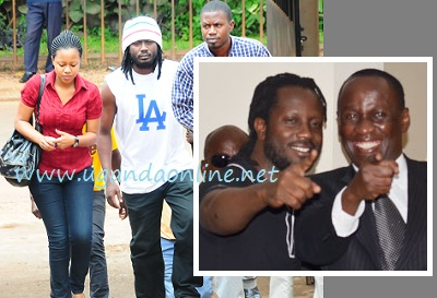 Zuena and Bebe Cool at one of Bad Black's court sessions and inset is Bebe Cool and Capt. Mike Mukula at the Anti Corruption Court