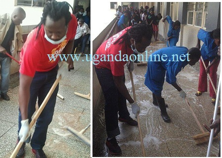 Gagamel Boss Bebe Cool in a cleaning exercise at Mulago Hospital