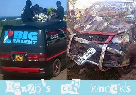 Kenzo's car rammed into a wall but no one was hurt