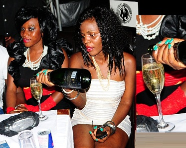 Bad Gal's glass being taken care of by one of her gal brigades back then