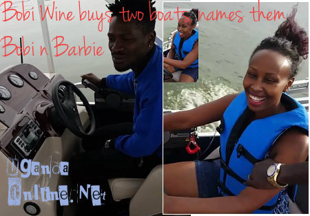 Bobi Wine and Barbie test riding their boats