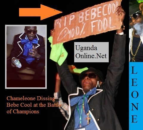 Chameleone holding a placard dissing Bebe Cool