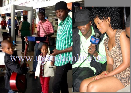 Jose Chameleone and his kids at Ebb airport and inset is Chameleone and Knowless at Club Rouge in Kampala