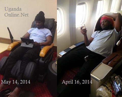 Bebe Cool in the VIP lounge before take off. Last month he was in UK