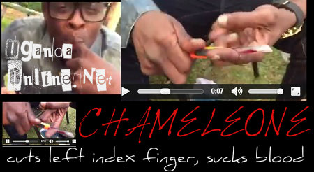 Video: Chameleone cuts index finger, sucks own blood