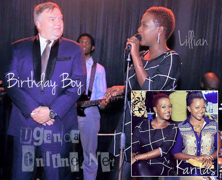 Lilian Mbabazi at Greenhalgh's party and inset is Karitas