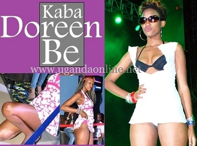 Model Doreen Kabareebe modeling in her white outfit that revealed her butt cheeks