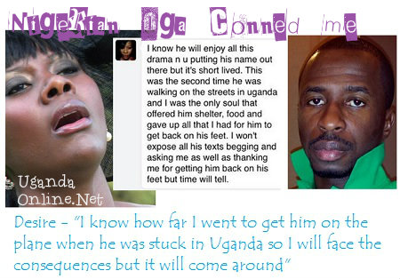 Desire Luzinda was conned by a Nigerian Oga