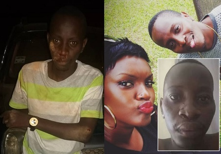 MC Kats showing off his wounds and inset is the couple during happy times