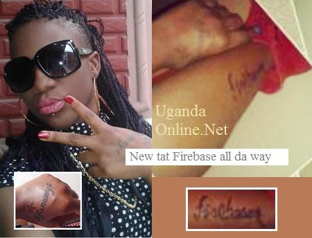 A Bobi Wine fan showing off a 'Firebase' crew tattoo.
