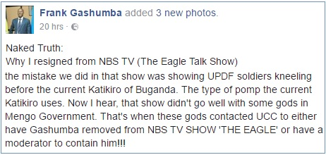 Gashumba explaining why he resigned