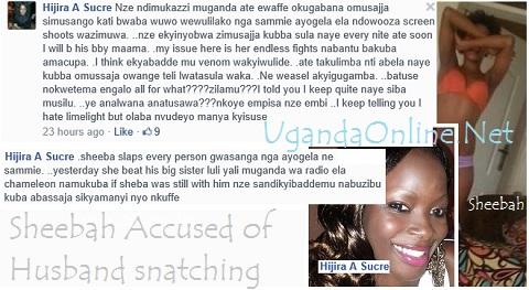 Screen shots of Hijira accusing Sheebah of husband snatching