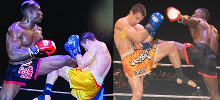 Golola descending on Nagy during the WKF fight on December 09 at Hotel Africana in Kampala