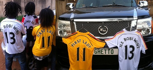 Bobi Wione and family getting ready for the Saturday game between Uganda and Guinea Bissau