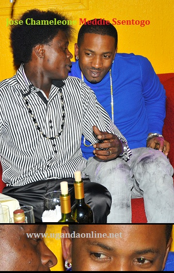 Jose chatting with Meddie Ssentongo during his birthday