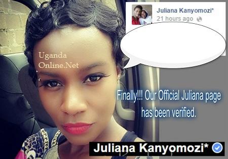 Juliana Kanyomozi's facebook page verified