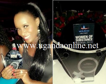 Juliana showing off her latest award - Woman of Substance