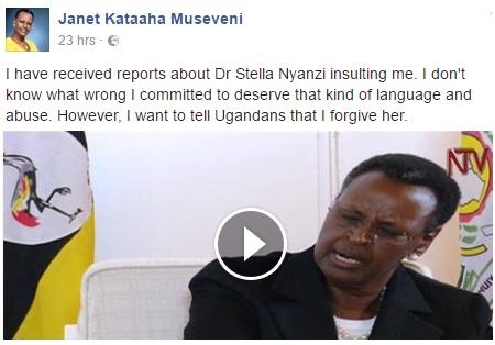 Janet Museveni responds to Stella Nyanzi