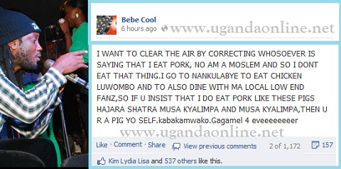 Bebe Cool's message in which he clarified that he does not eat that thing...