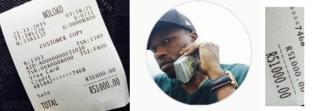 King Lawrence showing off his R51000 receipt