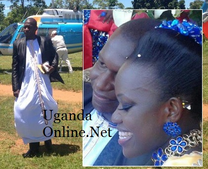 Joel Isabirye on arrival at Buddo and inset is the couple at the function