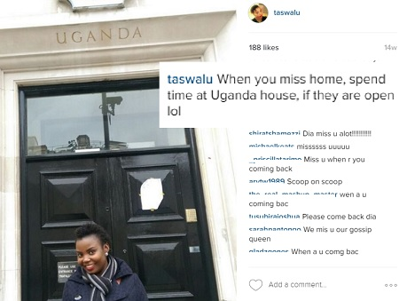 Mary Luswata strikes a pose at Uganda House in London, UK.
