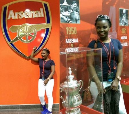 Mary Luswata at Emirates stadium