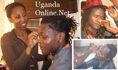 Different shots of Chameleone and the Goodlyfe Crew applying makeup