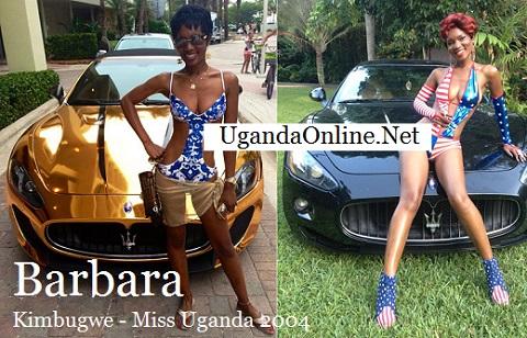Barbara Kimbugwe right infront of her Maserati