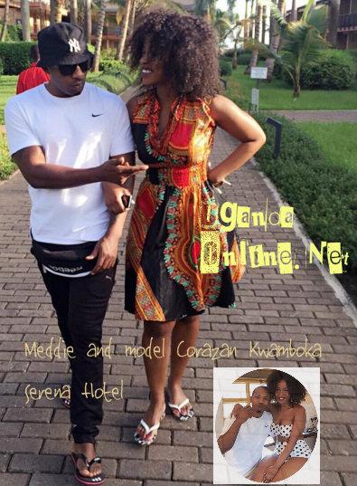 Meddie and model Corazan Kwamboka take a stroll around the hotel