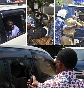 Dr. Besigye during and after the arrest