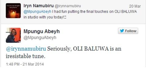 Iryn and Abeyh chatting about the Oli Baluwa tune