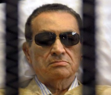 Egypt's Hosni Mubarak during the time when he was being sentenced to life in prison  on 02 June 2012