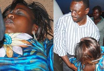 Kizza Besigye helping MP Nabilah Nagayi to a waiting car that drove her to IHK