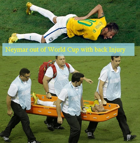 Neymar being carried off the field after the injury