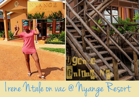 Irene Ntale strikes a pose right in front of Nyange resort